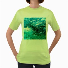 Fractal Ocean Waves Artistic Background Women s Green T-shirt