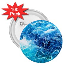 Fractal Ocean Waves Artistic Background 2 25  Buttons (100 Pack)