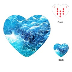 Fractal Ocean Waves Artistic Background Playing Cards (heart) by Jojostore