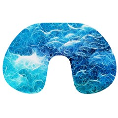 Fractal Ocean Waves Artistic Background Travel Neck Pillows by Jojostore