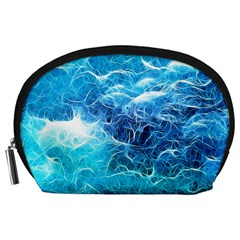 Fractal Ocean Waves Artistic Background Accessory Pouch (large) by Jojostore