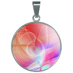 Background Nebulous Fog Rings 30mm Round Necklace