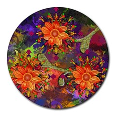 Abstract Flowers Floral Decorative Round Mousepads by Jojostore