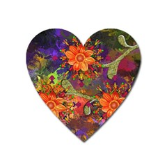 Abstract Flowers Floral Decorative Heart Magnet