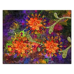 Abstract Flowers Floral Decorative Rectangular Jigsaw Puzzl