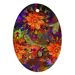Abstract Flowers Floral Decorative Oval Ornament (two Sides) by Jojostore