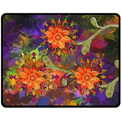 Abstract Flowers Floral Decorative Double Sided Fleece Blanket (medium)