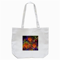 Abstract Flowers Floral Decorative Tote Bag (white)