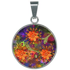 Abstract Flowers Floral Decorative 25mm Round Necklace