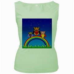 Owls Rainbow Animals Birds Nature Women s Green Tank Top by Jojostore