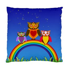 Owls Rainbow Animals Birds Nature Standard Cushion Case (one Side) by Jojostore