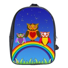Owls Rainbow Animals Birds Nature School Bag (large)
