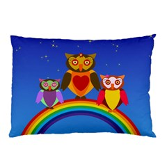 Owls Rainbow Animals Birds Nature Pillow Case (two Sides) by Jojostore