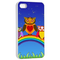 Owls Rainbow Animals Birds Nature Apple Iphone 4/4s Seamless Case (white) by Jojostore