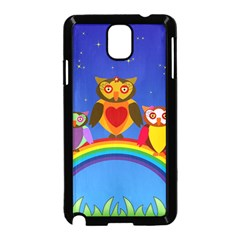 Owls Rainbow Animals Birds Nature Samsung Galaxy Note 3 Neo Hardshell Case (black) by Jojostore