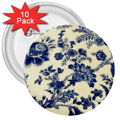 Vintage Blue Drawings On Fabric 3  Buttons (10 Pack)  by Jojostore