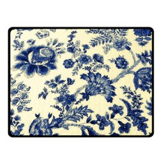 Vintage Blue Drawings On Fabric Fleece Blanket (small) by Jojostore