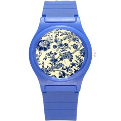 Vintage Blue Drawings On Fabric Round Plastic Sport Watch (s) by Jojostore