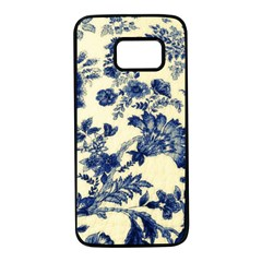 Vintage Blue Drawings On Fabric Samsung Galaxy S7 Black Seamless Case by Jojostore
