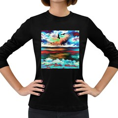 Ocean Waves Birds Colorful Sea Women s Long Sleeve Dark T Shirt