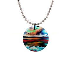Ocean Waves Birds Colorful Sea 1  Button Necklace