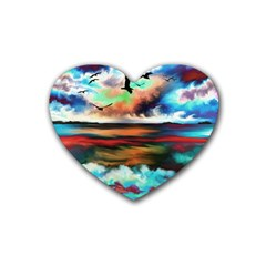 Ocean Waves Birds Colorful Sea Rubber Coaster (heart)  by Jojostore