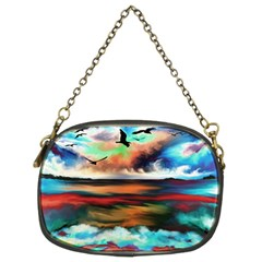 Ocean Waves Birds Colorful Sea Chain Purse (two Sides)