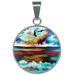 Ocean Waves Birds Colorful Sea 25mm Round Necklace