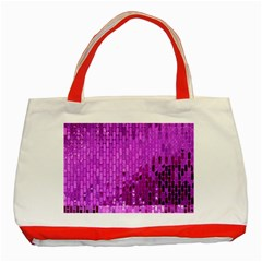 Purple Background Scrapbooking Paper Classic Tote Bag (red) by Jojostore
