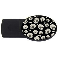 Halloween Skull Pattern Usb Flash Drive Oval (4 Gb)