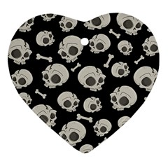 Halloween Skull Pattern Heart Ornament (two Sides) by Valentinaart