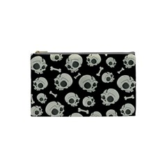 Halloween Skull Pattern Cosmetic Bag (small) by Valentinaart