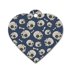 Halloween Skull Pattern Dog Tag Heart (one Side) by Valentinaart
