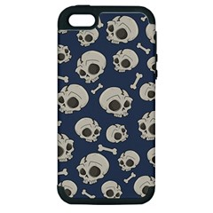 Halloween Skull Pattern Apple Iphone 5 Hardshell Case (pc+silicone) by Valentinaart
