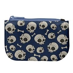 Halloween Skull Pattern Large Coin Purse by Valentinaart