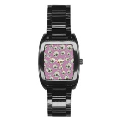 Halloween Skull Pattern Stainless Steel Barrel Watch