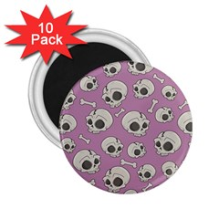 Halloween Skull Pattern 2 25  Magnets (10 Pack)
