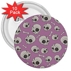 Halloween Skull Pattern 3  Buttons (10 Pack)