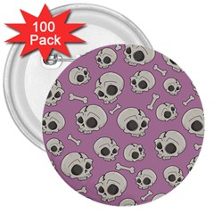 Halloween Skull Pattern 3  Buttons (100 Pack)