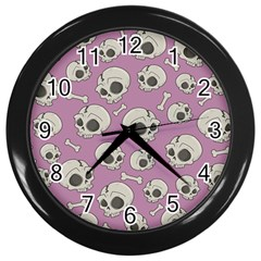 Halloween Skull Pattern Wall Clock (black)