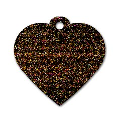 Colorful And Glowing Pixelated Pattern Dog Tag Heart (one Side) by Jojostore