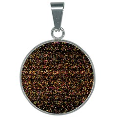 Colorful And Glowing Pixelated Pattern 25mm Round Necklace