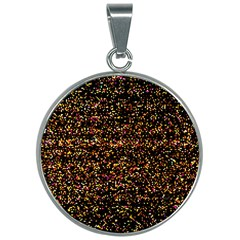 Colorful And Glowing Pixelated Pattern 30mm Round Necklace by Jojostore