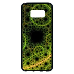 Abstract Circles Yellow Black Samsung Galaxy S8 Plus Black Seamless Case