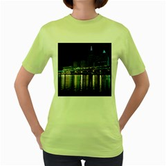 Cleveland Building City By Night Women s Green T-shirt