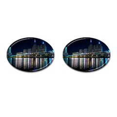 Cleveland Building City By Night Cufflinks (oval)