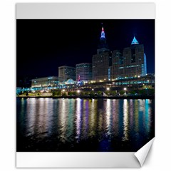 Cleveland Building City By Night Canvas 8  X 10  by Jojostore