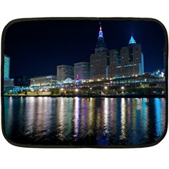 Cleveland Building City By Night Fleece Blanket (mini)