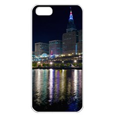 Cleveland Building City By Night Apple Iphone 5 Seamless Case (white) by Jojostore