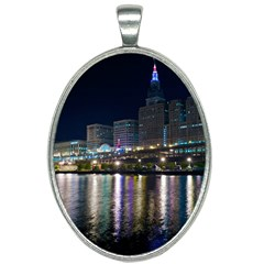 Cleveland Building City By Night Oval Necklace by Jojostore